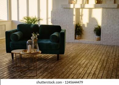 Light scandy interior in comfortable modern studio