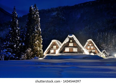 Light up scenery of Shirakawago which is a world heritage site