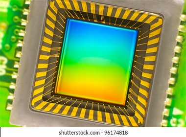 light sensor on a card of digital camera with coloured interference