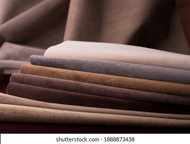 Light Set Sail Champagne and chocolate colors velour textile samples. Fabric texture background - Shutterstock ID 1888873438
