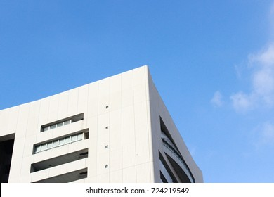 Light and shade of shadows on white square shape building. Architecture view. Geometry shape. Japanese minimal style.