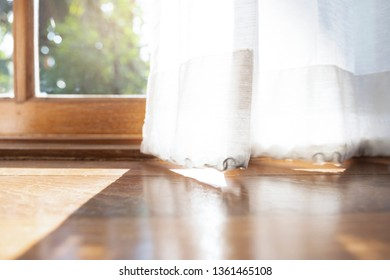 The light and shadow of morning on the silk blinder or curtain.