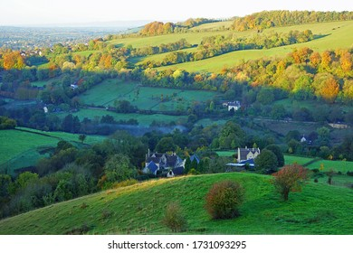 Light and shadow over the Stroud valley in Autumn from Swifts Hill Nature Reserve, SSSI near Slad, The Cotswolds, Gloucestershire, England, UK