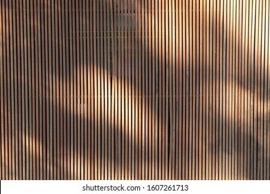 light and shadows on outdoor wooden battens background and texture. timber slat partition for home decoration.