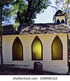 Light shines through this little house of worship in a small town in rural California