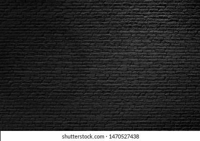 Light shining on black brick wall background