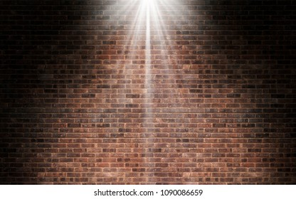 Light shining on red brick wall background