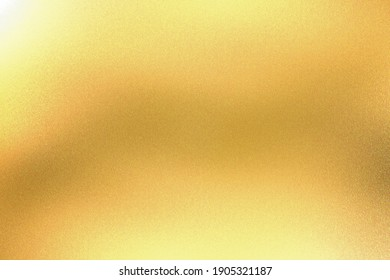 Light shining on yellow foil glitter metallic wall with copy space, abstract texture background