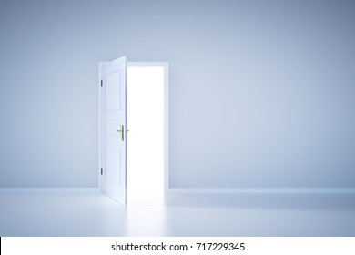 Light shining from open door. Entrance to new world, concept of hope, new opportunity