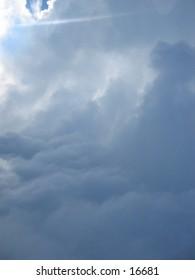 Light shining through clouds
