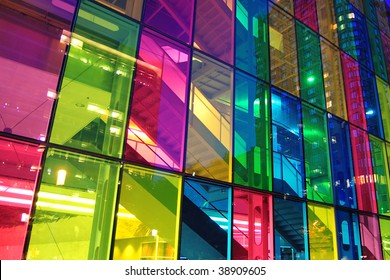 Light shining through modern stained glass windows. Palais des congress, Montreal.