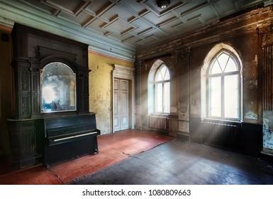 Light shone through windows of very old room