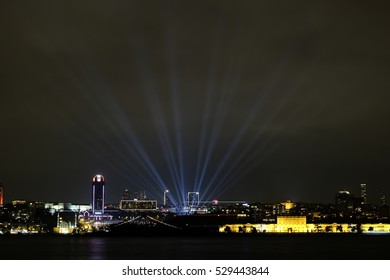 Light Show in Istanbul Cityscape