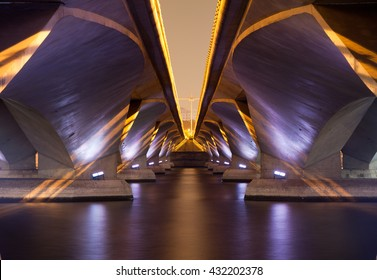 light show and shadow of under Esplanade Bridge, Singapore.