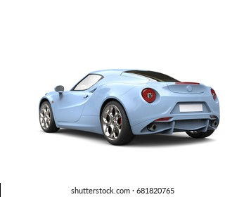 Light sky blue modern luxury sports car - tail view - 3D Illustration