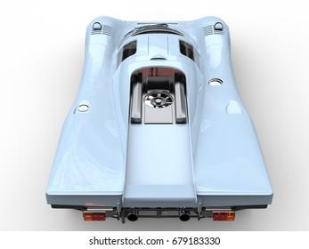 Light sky blue vintage race car - top down view - 3D Illustration