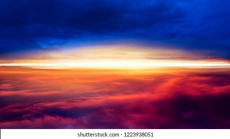 Light from sky . Religion background . Abstract big explosion . Sunset . Sunlight pierces through the clouds . Background sky at sunset and dawn .  Flare .