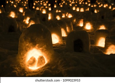 Light snow lanterns in Yokote kamakura festival in Akita prefecture, Japan