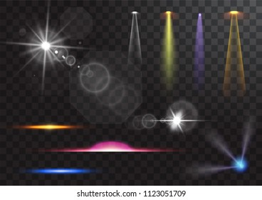 light sources, concert lighting, stage spotlights set. Concert spotlight with beam, illuminated spotlights for web design illustration