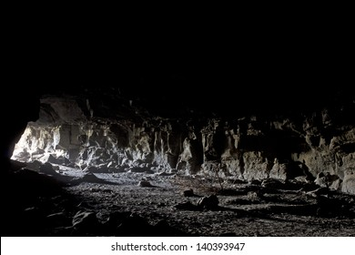 Light spilling in to a lava tube cave from the entrance