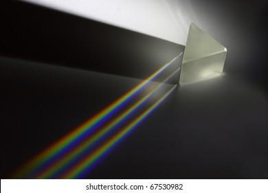 Light split and three rainbows - real photo