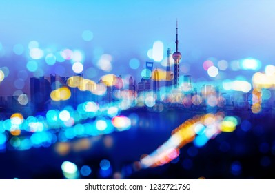 Light spots and tall buildings, exaggerated expression of the city at night, Shanghai, China