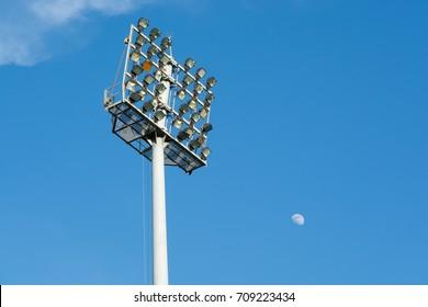 Light stadium with blue sky.