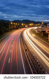 the light streak of a car