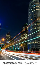 Light streaks from cars and a bus in downtown Dallas