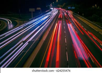 Light Streaks And Traffic Trails