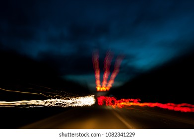 light stripes abstract traffic at night moving fast