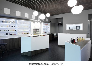 light and stylish luxury perfume store with famous fragrance