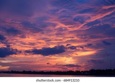 Light of the sun in the evening sky.