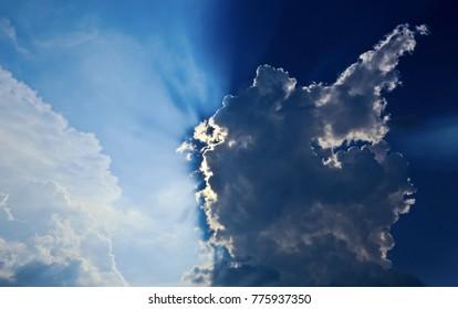 Sunlight penetration of cloud nylon