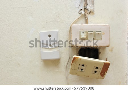Fabulous Light Switch Electrical Socket Switch Damaged Stock Photo Edit Now Wiring 101 Tzicihahutechinfo