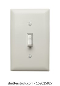 Light Switch in the Off Position Isolated on White Background.