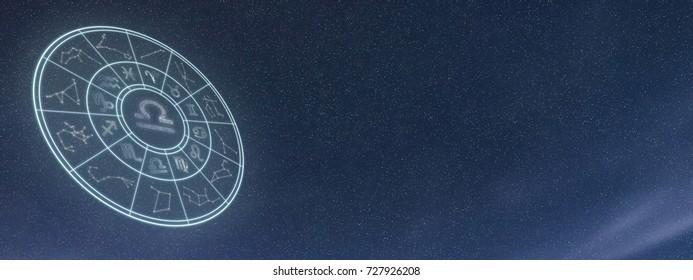 Light symbols of zodiac and horoscope circle, Libra Zodiac Sign