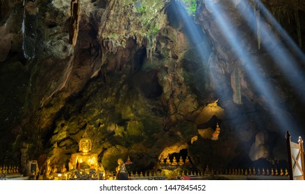 Light through the cave Khao Luang Phetchaburi near Bangkok,Thailand