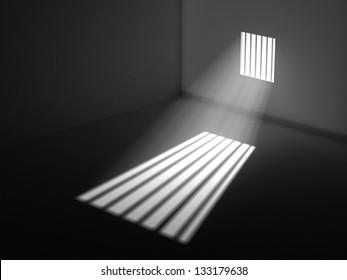 Light through the latticed prison window