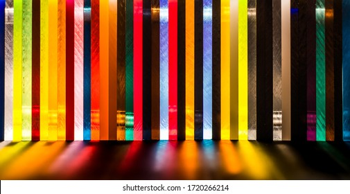 light through Stack of different colours Cast Acrylic Sheet