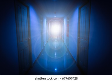 Light through window in apartment with lens flare. Horror scene.
