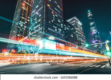Light trace of modern architecture background in Shenzhen Financ