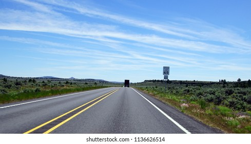 Light traffic on highway through the High Desert between Bend and Burns, Oregon