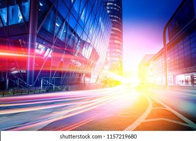 light trail effect in city night street