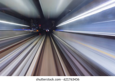 light trail motion on fast moving train in the city Kuala Lumpur