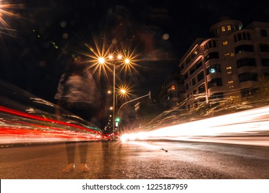 light trail in mumbai, marine drive