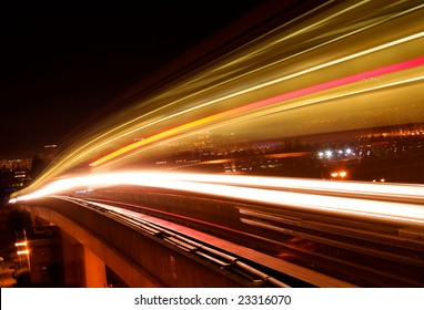 Light trail from a night train