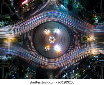 Light Trail on the Democracy Monument in Thailand form aerial photography top view, look like colorful eye