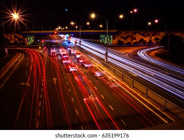 Light trail on traffic junction