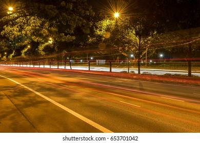 Light trail in Singapore City